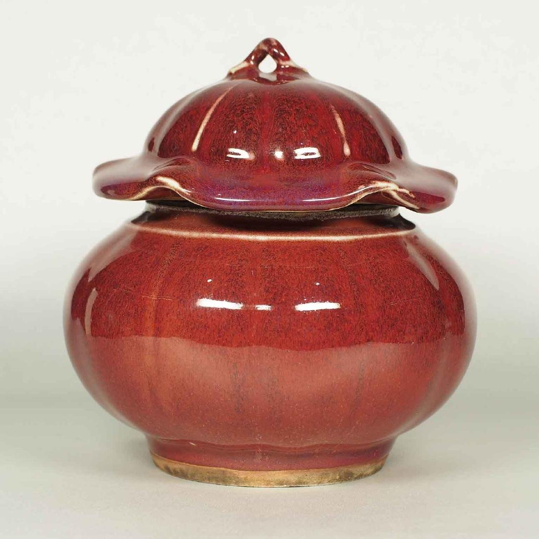 Langyao Hong Lobbed Jar with Lid, 18th Century Qing