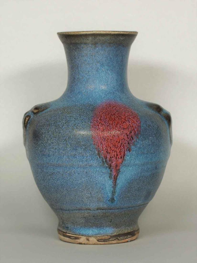 Jun Hu-Form Vase with Lion-head Handles, Jin-Song