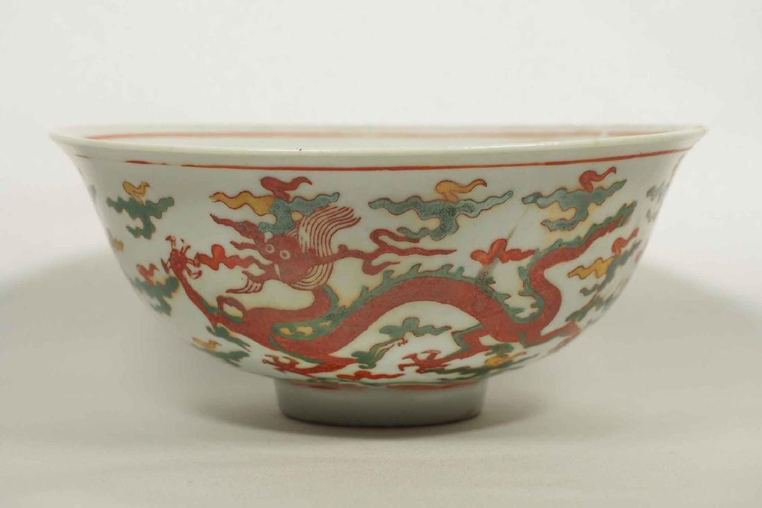 Wucai Bowl with Dragon, Jiajing Mark, late