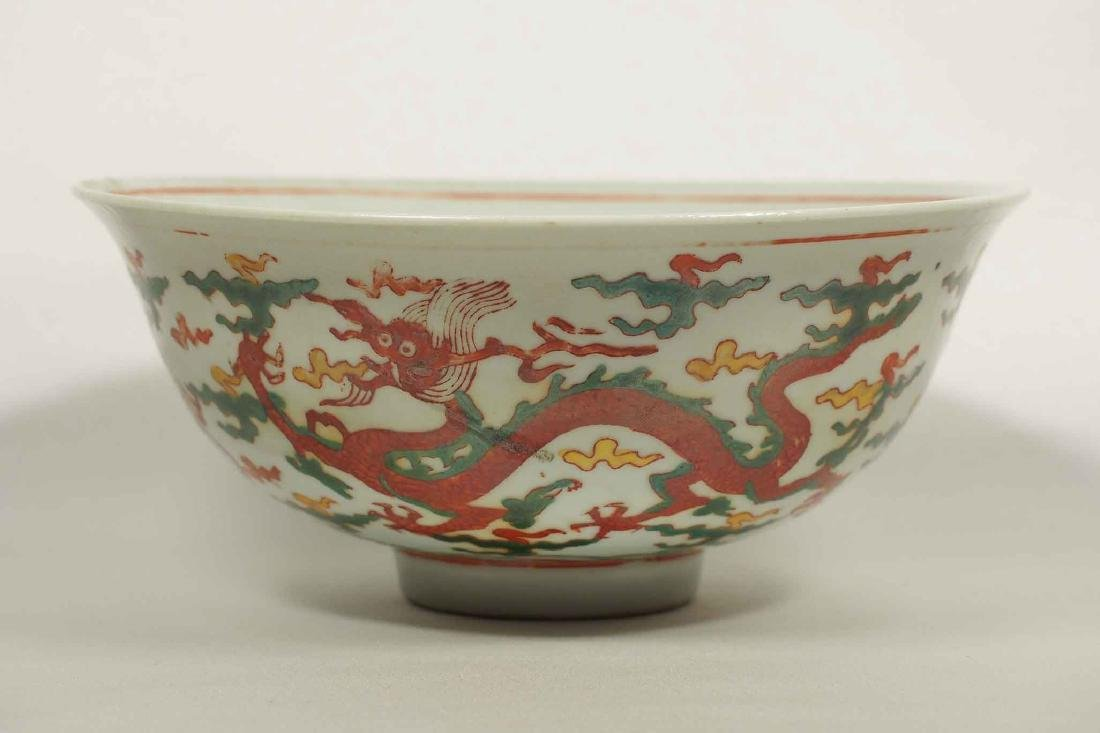 Wucai Bowl with Dragon, Jiajing Mark, late - 2
