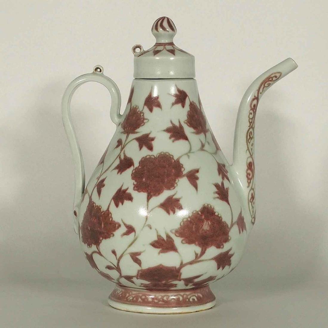 (TL) Lidded Ewer with Flower Design, Yuan Dynasty +TL