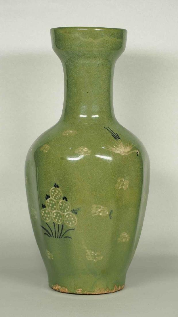Celadon Vase with Crane and Plant Design, 15-16th