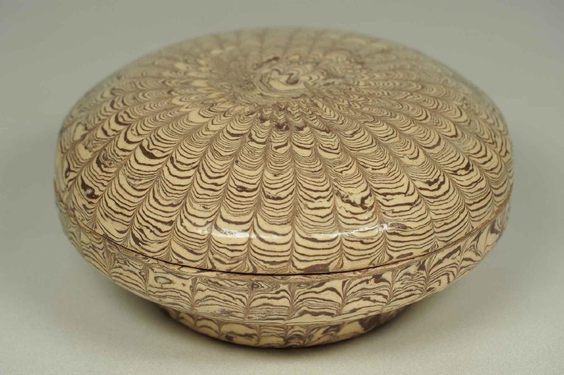 Twisted Marble-Glaze Lidded Box