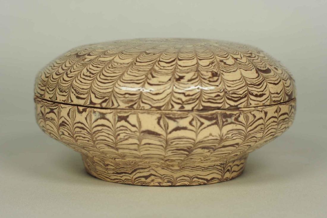 Twisted Marble-Glaze Lidded Box - 3