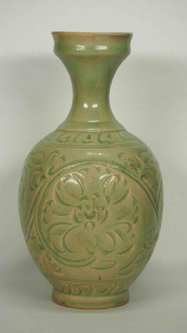 Yaozhou Vase with Carved Peony Scroll, Song Dynasty