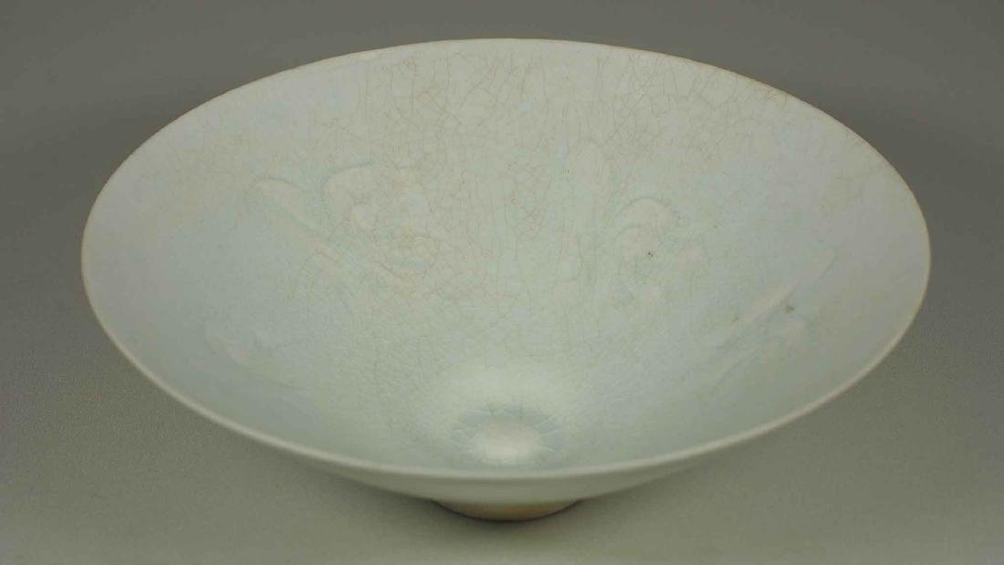Yingqing Qingbai Conical Bowl with Carved Design, Song - 4