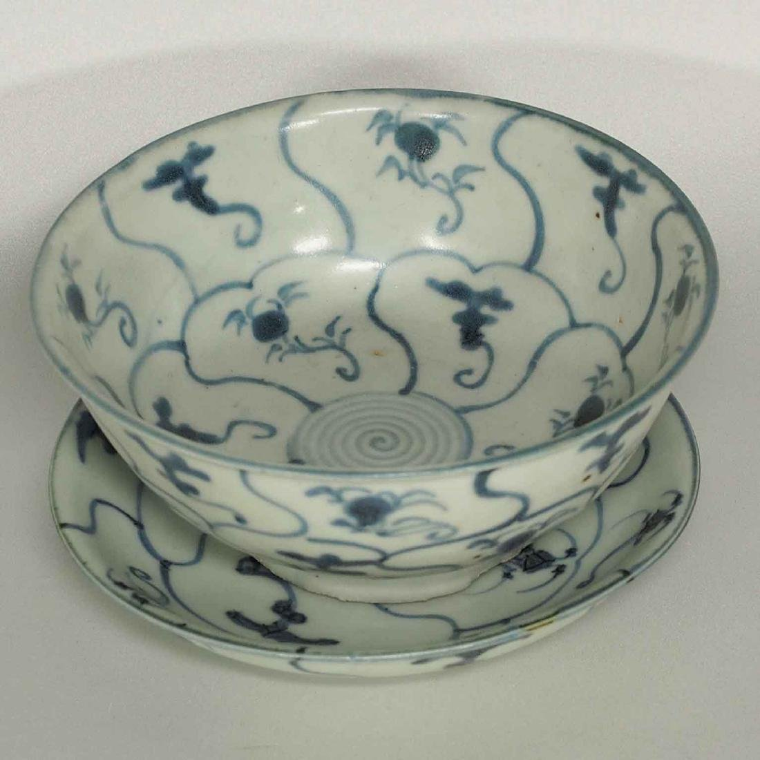 Set Bowl and Plate with Swirling Design, late Ming