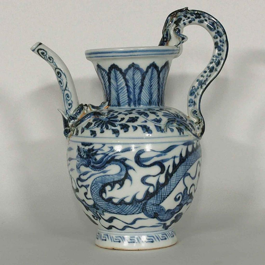 Ewer with Molded Dragon Handle, Yuan Dynasty