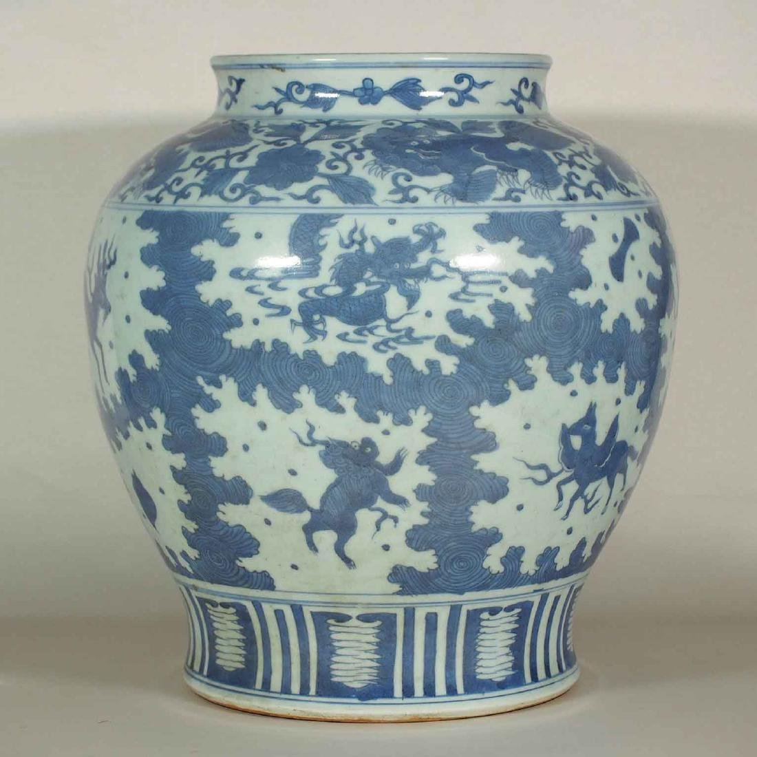 Large Jar with Mythical Beasts Design, late Ming