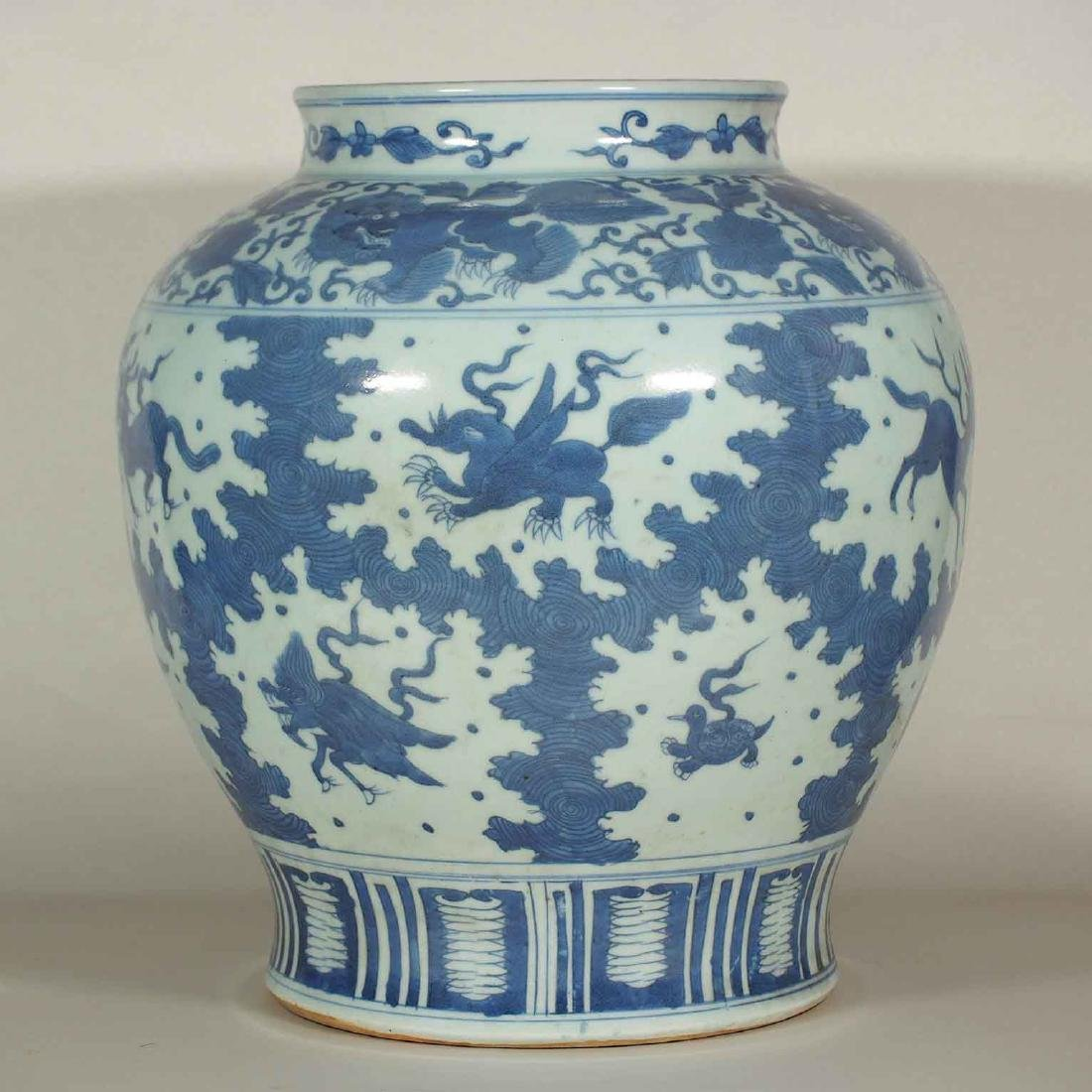 Large Jar with Mythical Beasts Design, late Ming - 2
