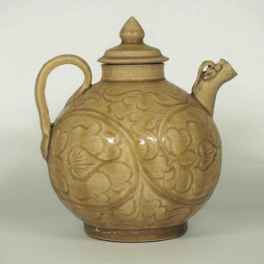 Brown Yaozhou Lidded Ewer with Floral Scroll, Five
