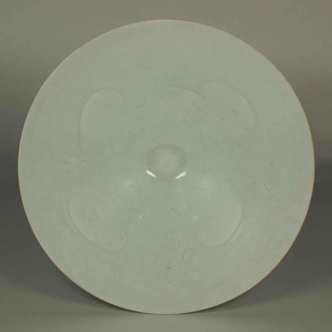 Qingbai Conical Bowl with Carved Design, Song Dynasty.