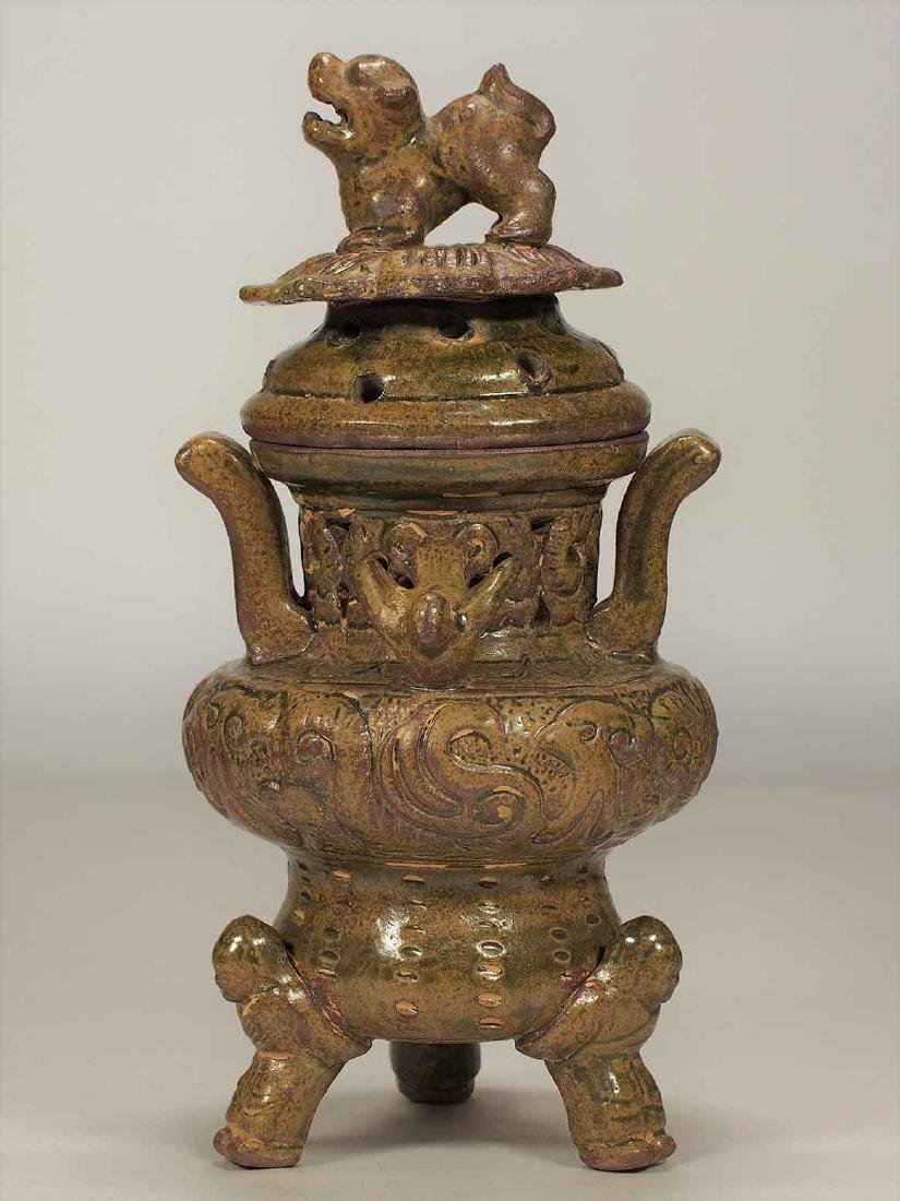 Celadon Tripod Censer with Qilin on Lotus Lid, Eastern - 2