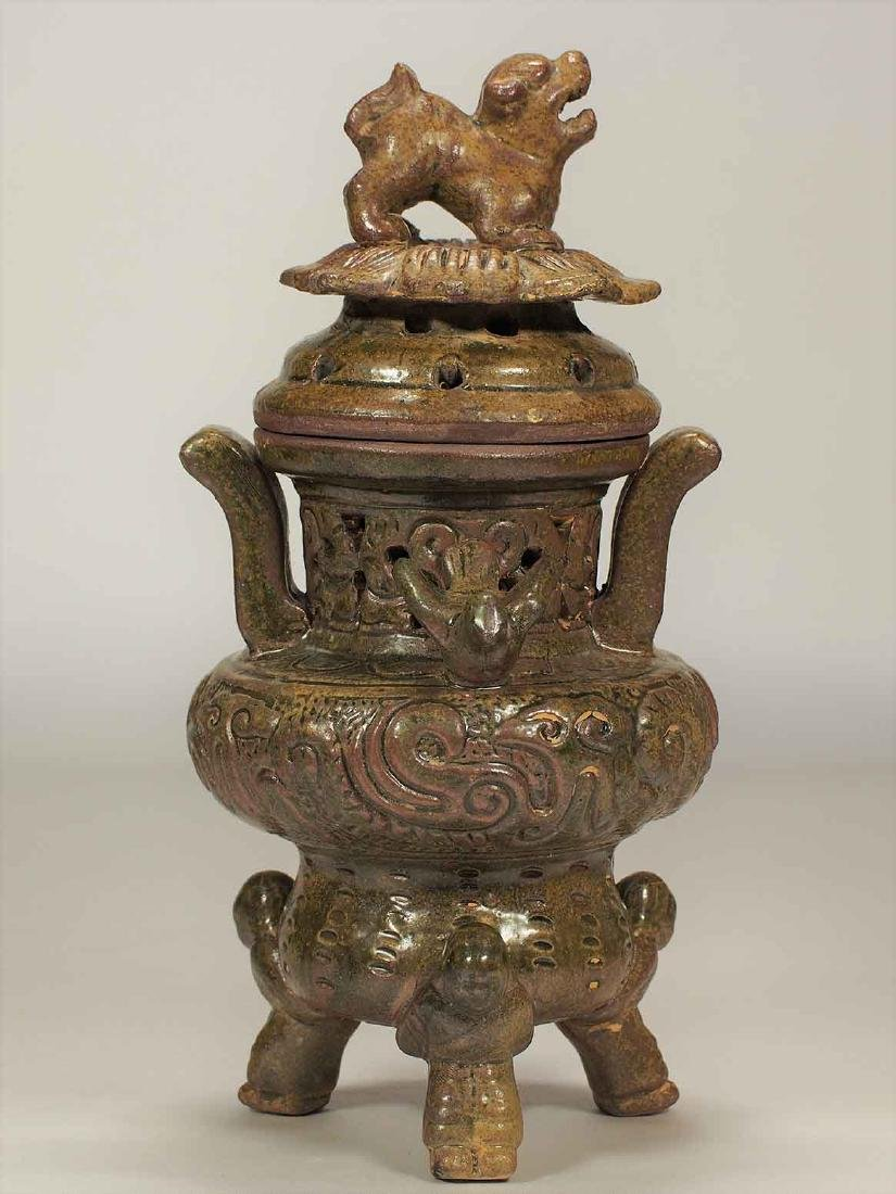 Celadon Tripod Censer with Qilin on Lotus Lid, Eastern - 3