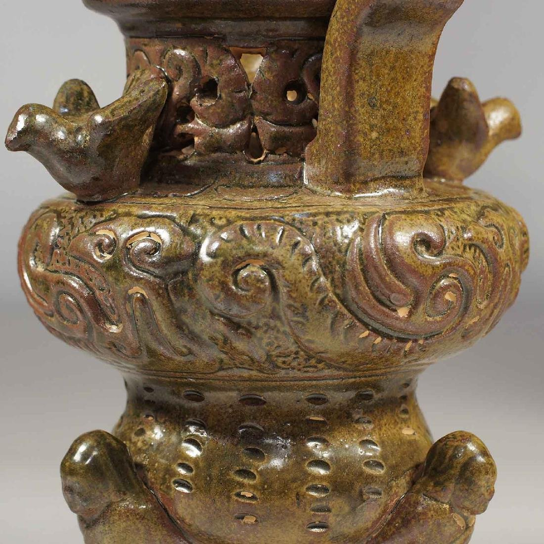 Celadon Tripod Censer with Qilin on Lotus Lid, Eastern - 4