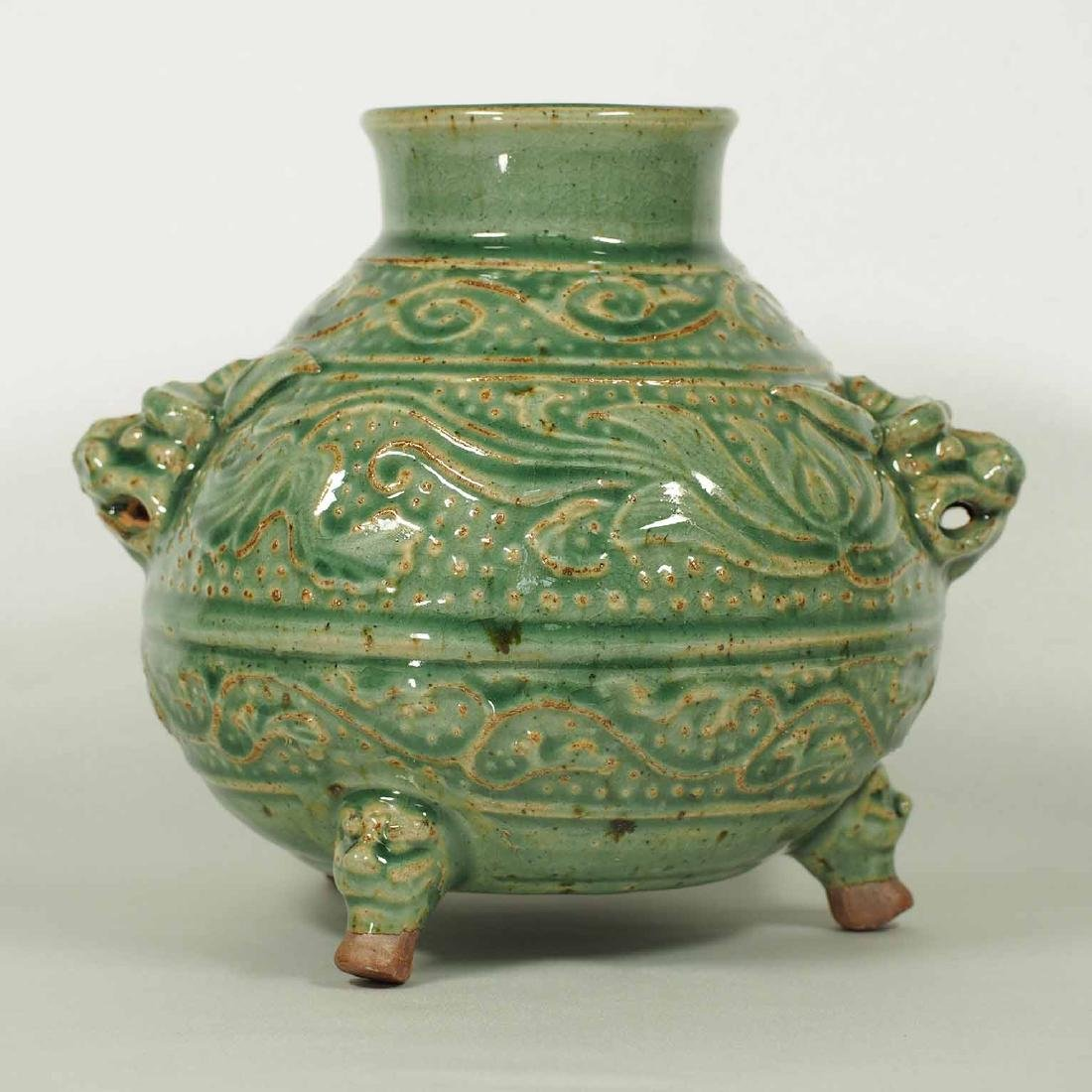 Tripod Jar With Lotus And Leaf Scroll, Southern Song