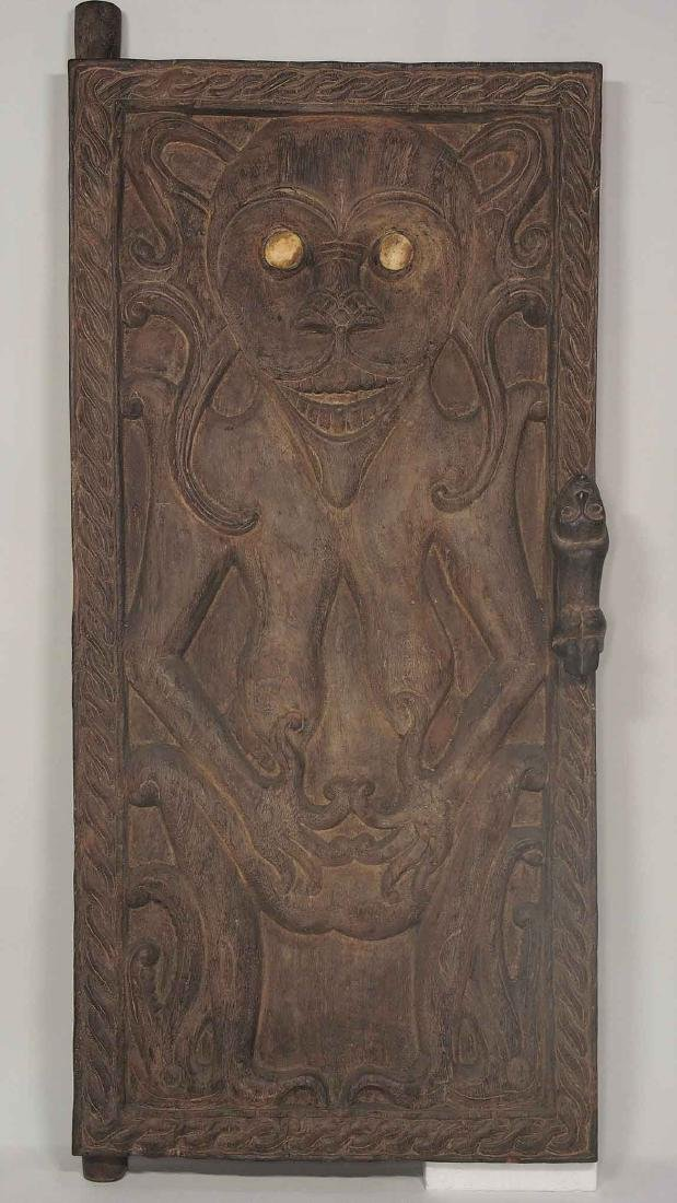 Antique Hand-Carved Solid Wood Window Shutter, Dayak