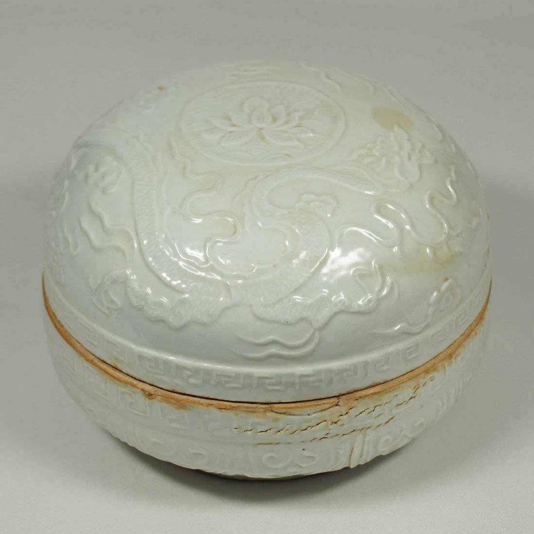 Shufu Box with Moulded Lotus and Dragon, Yuan Dynasty