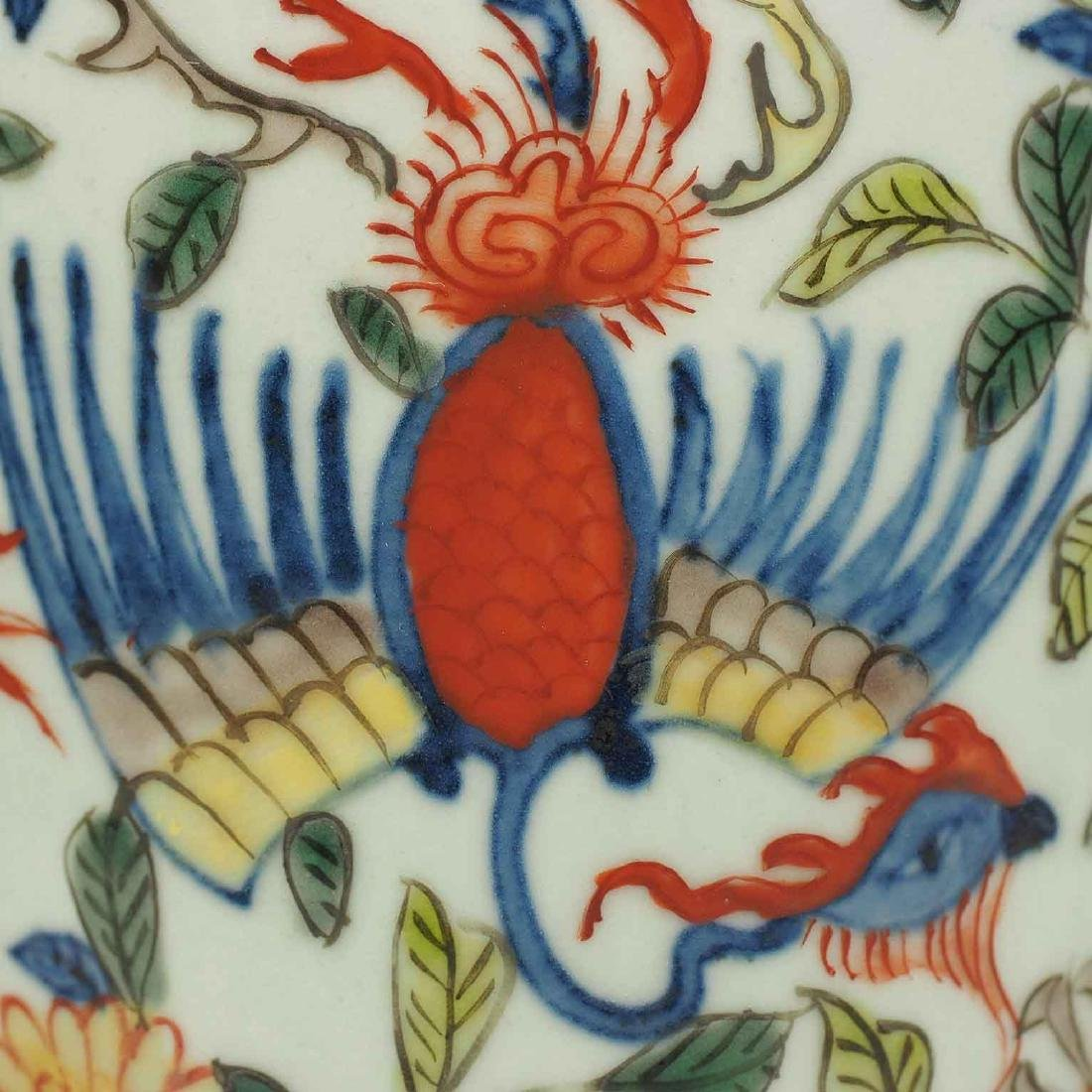 Wucai Vase with Dragon and Phoenix, Wanli Mark, Ming - 7