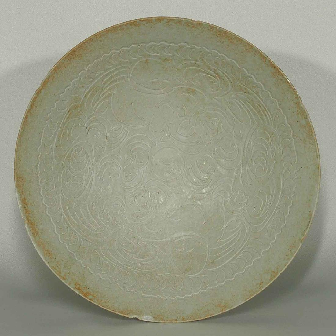 Large Qingbai Bowl with Incised Motif, Song Dynasty