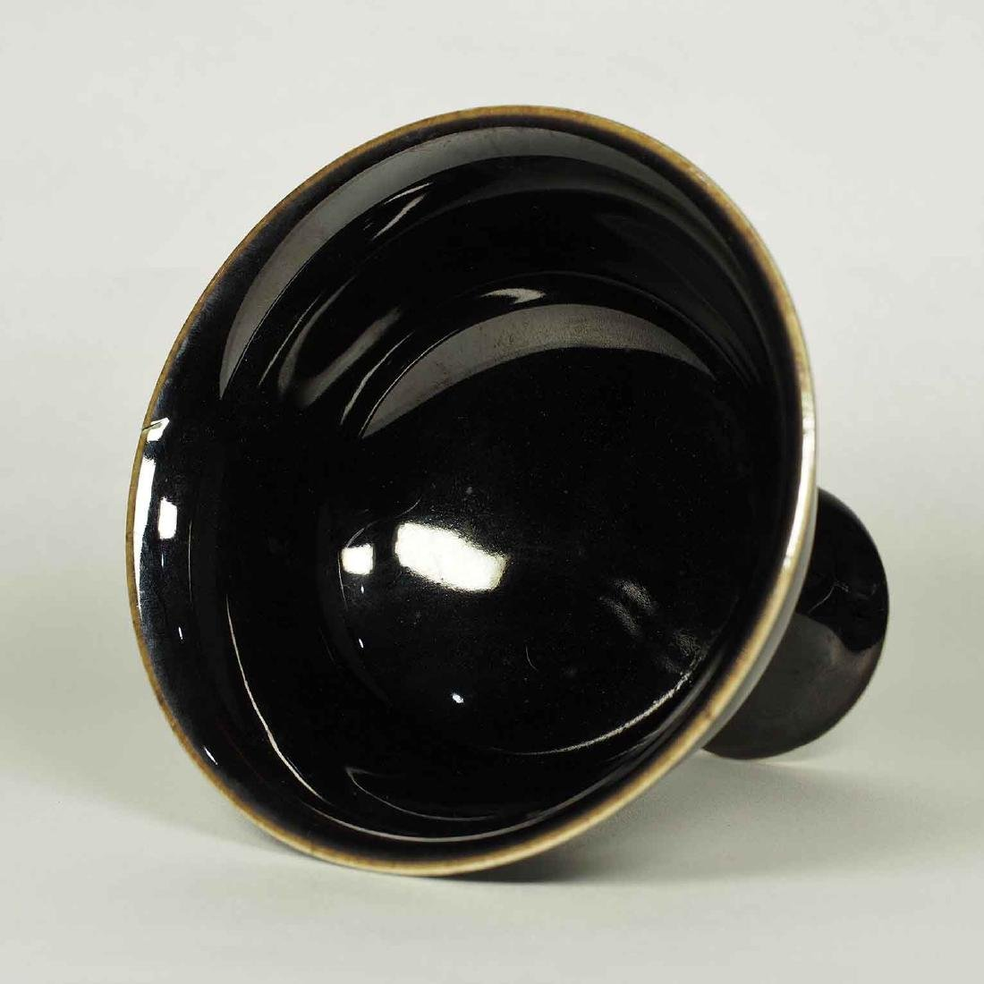 Black Glaze Stemcup, Kangxi Period Mark, Qing Dynasty - 3