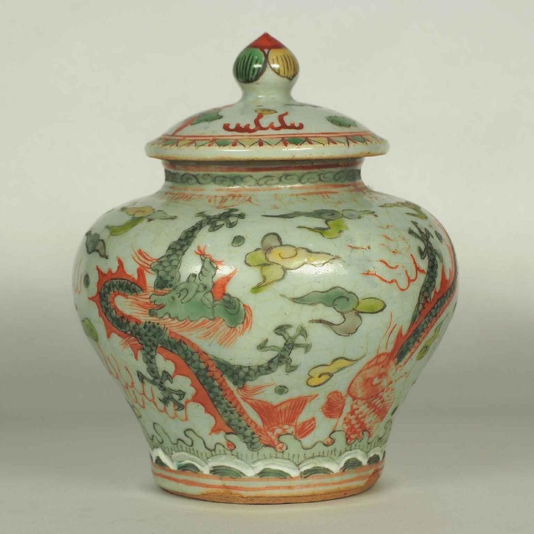 Wucai Lidded Jar with Dragon and Phoenix, late Ming
