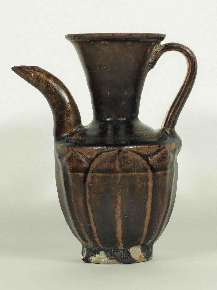 Black Glaze Ewer with Carved Lotus Petal, Song Dynasty