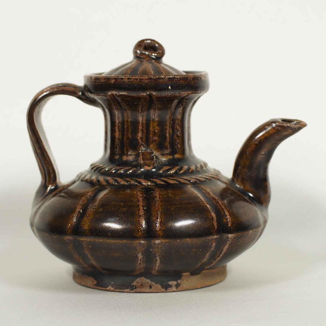 Black glazed Arabic Style Ewer with Lid, Song Dynasty - 2