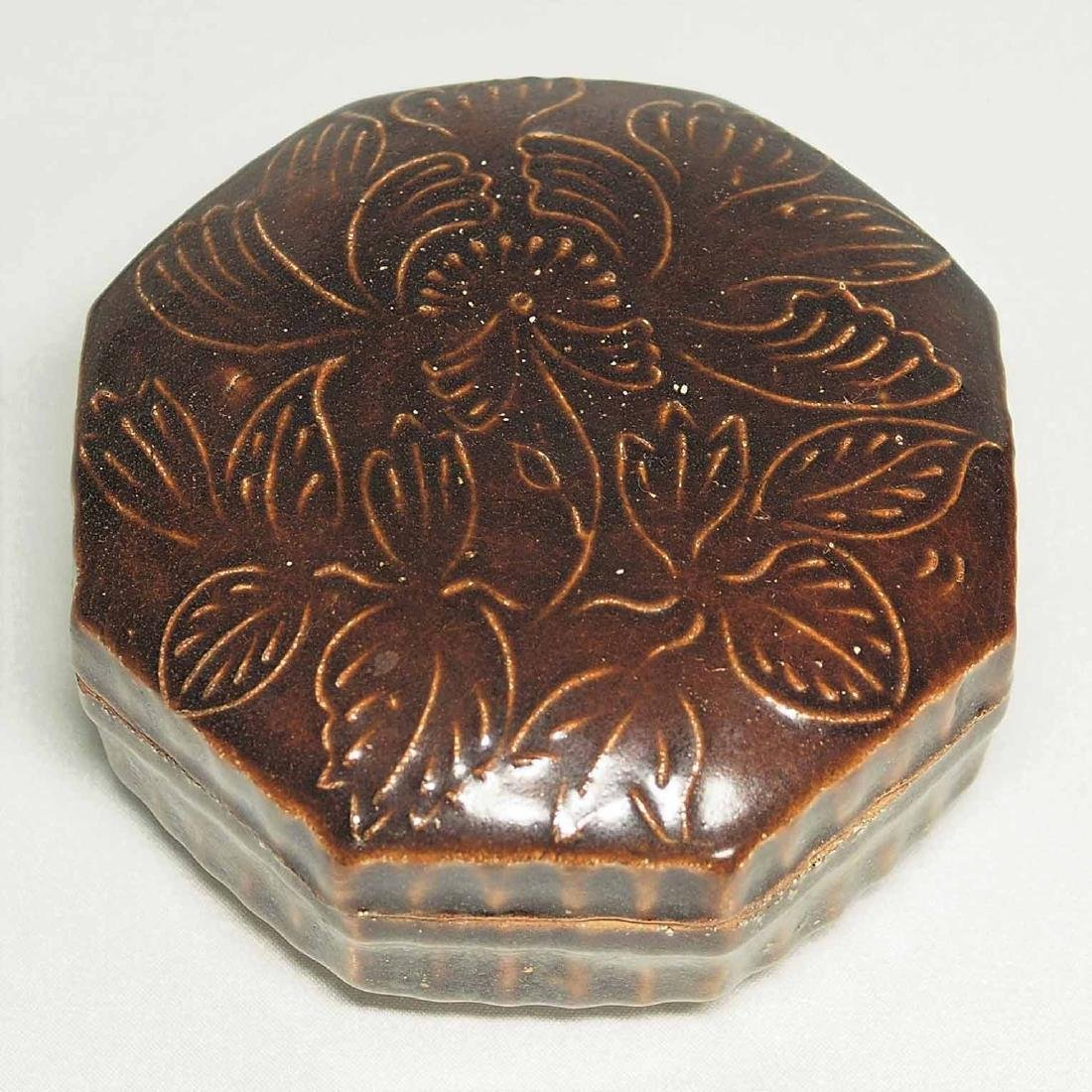 Octagonal Cosmetic Box With Impressed Peony, Song