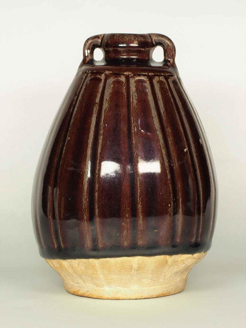 Red Brown Glaze Jarlet with Two Lugs, Sukhothai
