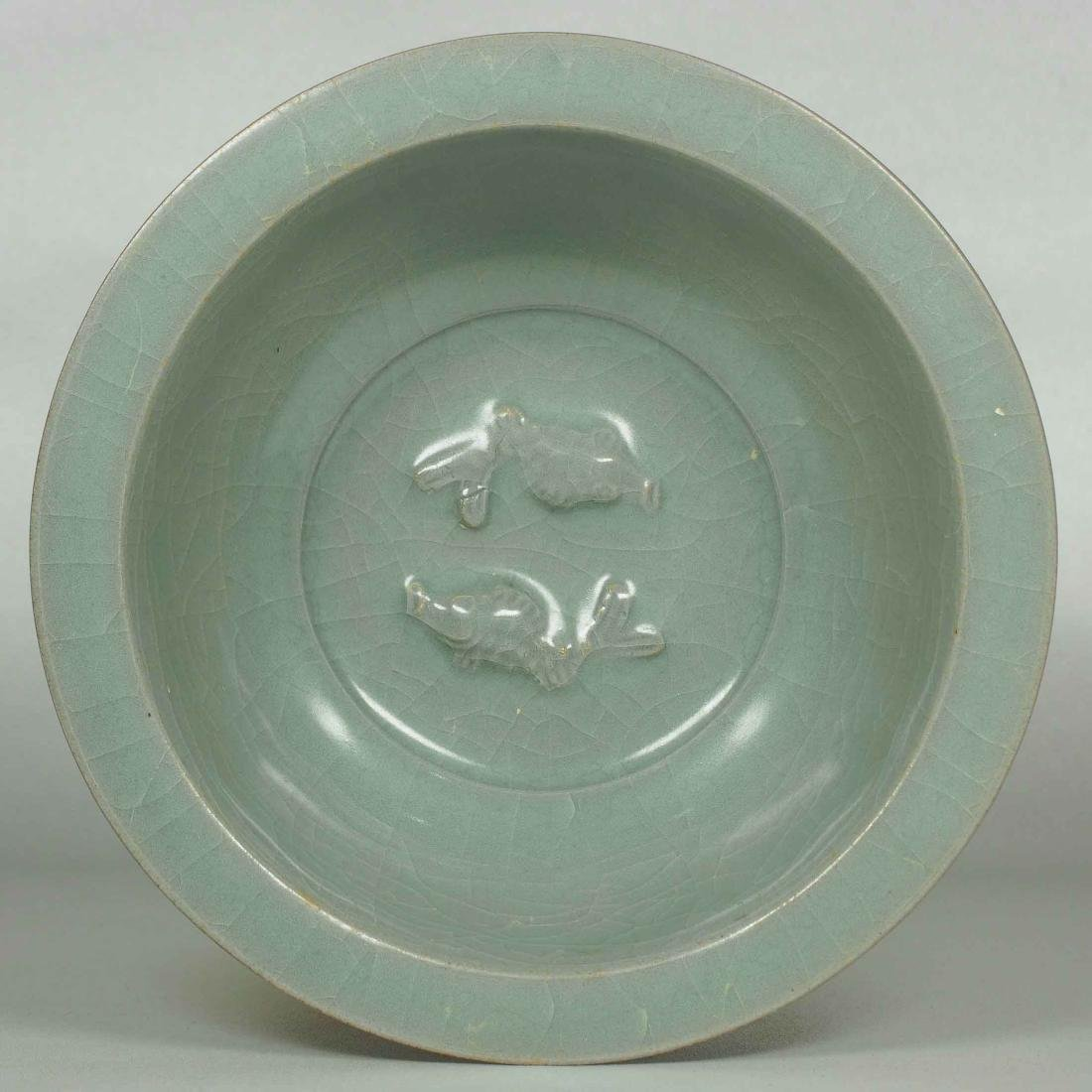 Longquan Bowl with Twin Fish and Lotus Design, Southern