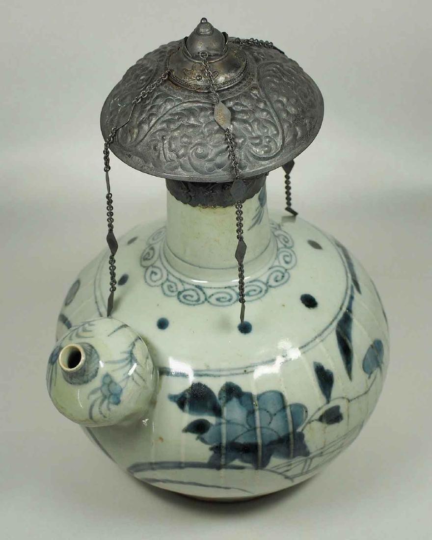 Lobed Arita Kendi with Antique Silver lid, Edo period