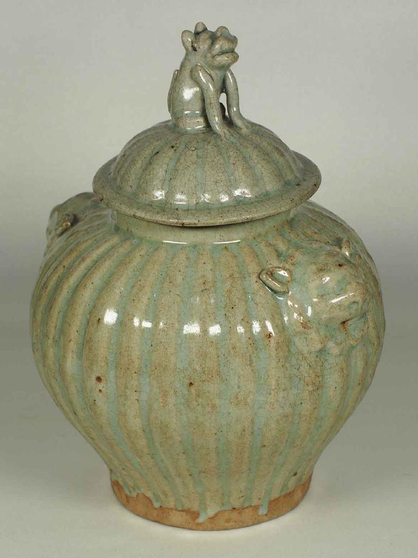 Qingbai Fluted Jar with Foo-Dog Lid, Yuan Dynasty.