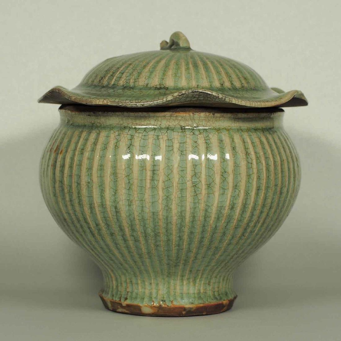 Longquan Fluted Jar with Lid, late Southern Song-early - 2