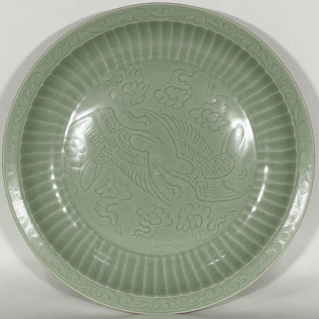 Longquan Fluted Charger, early Ming Dynasty
