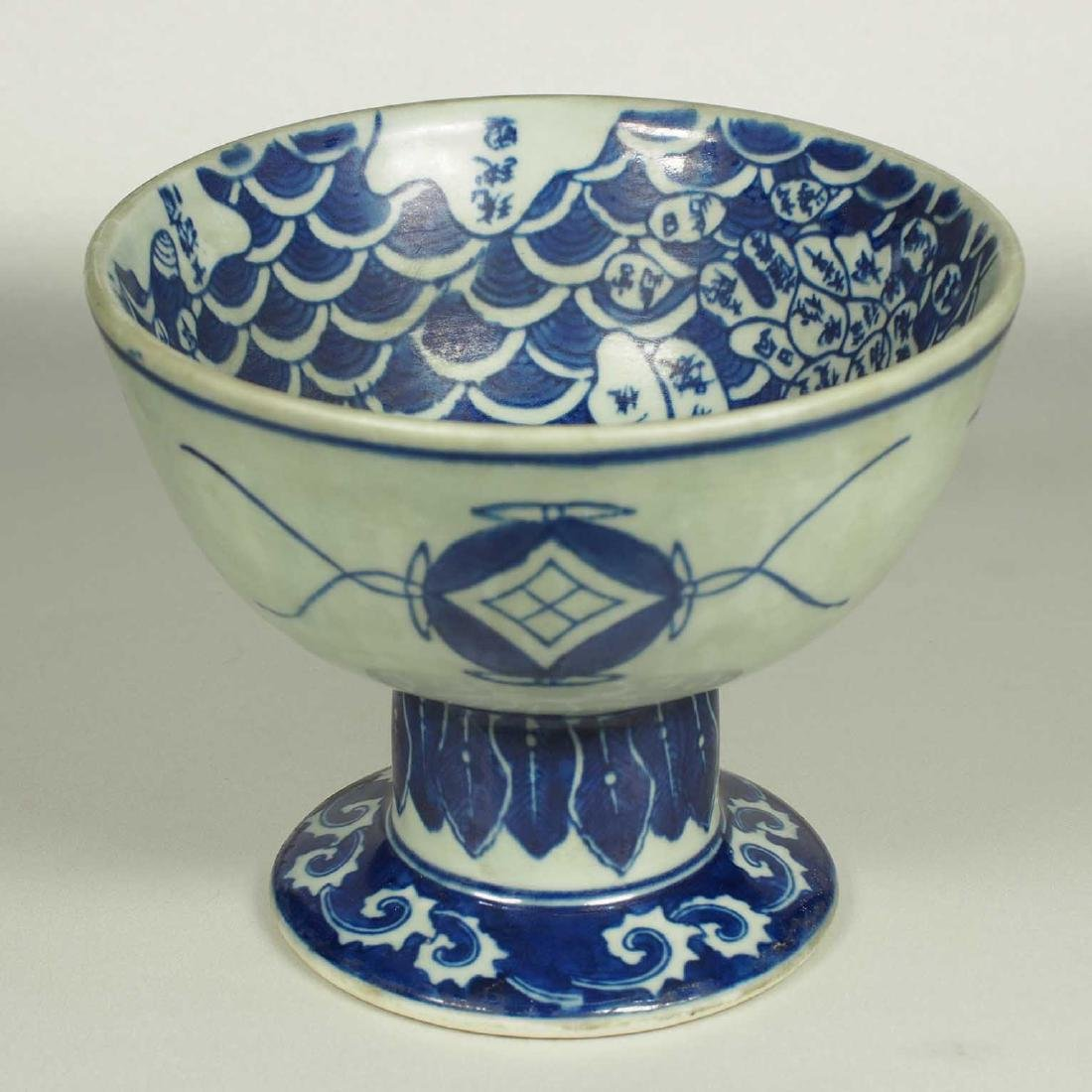 Stembowl with Territorial Map, late Qing Dynasty