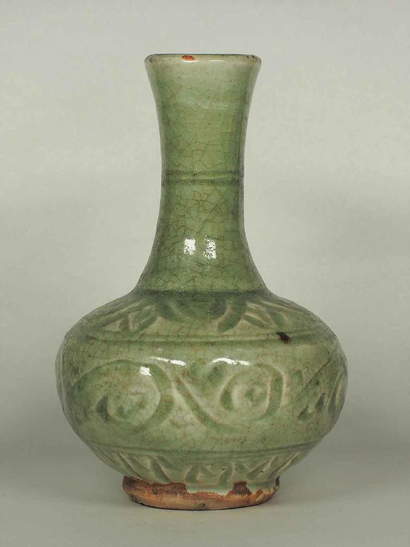 Celadon Bottle Vase with Carved Design, Yuan Dynasty