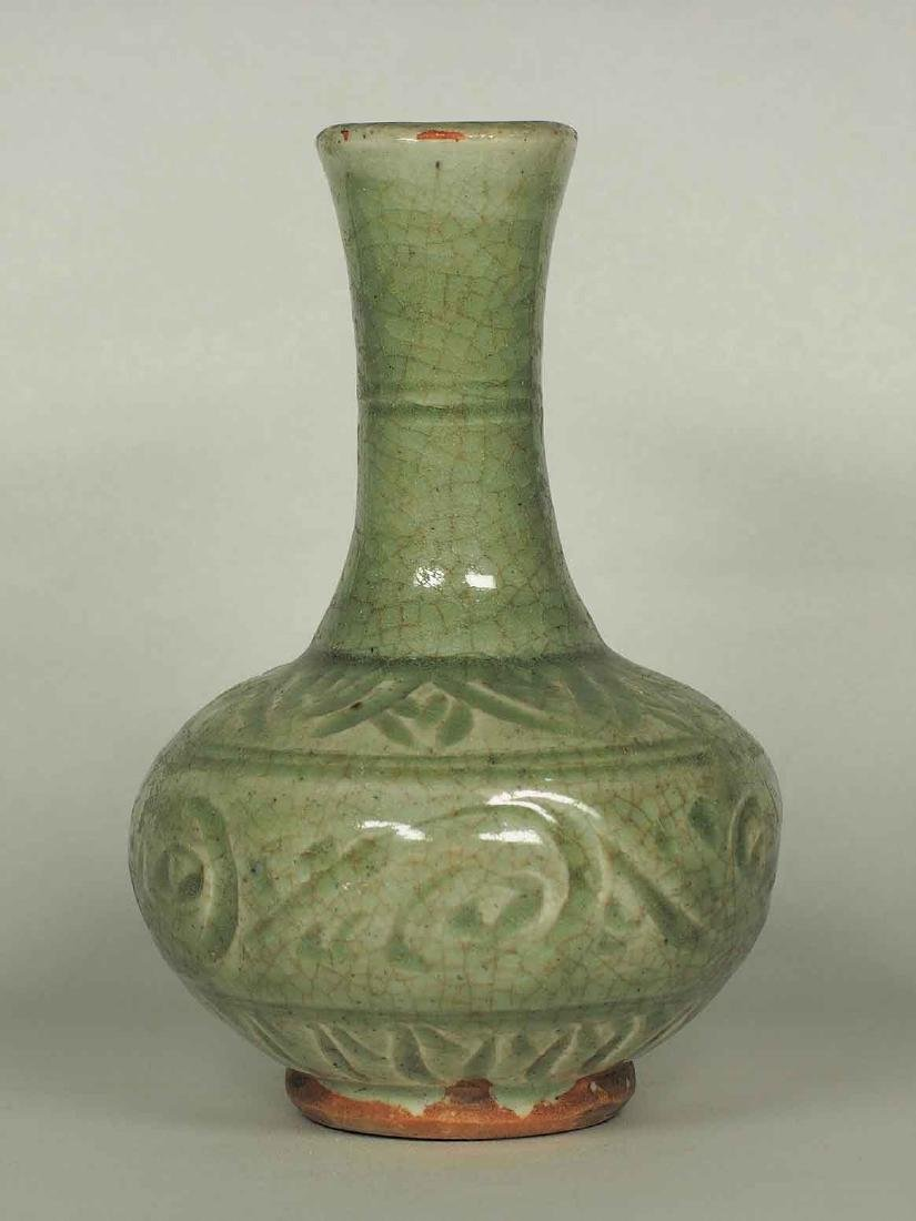 Celadon Bottle Vase with Carved Design, Yuan Dynasty - 2