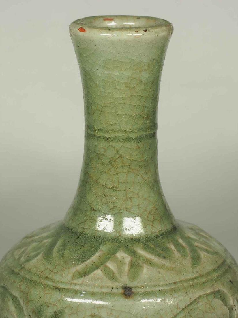 Celadon Bottle Vase with Carved Design, Yuan Dynasty - 4