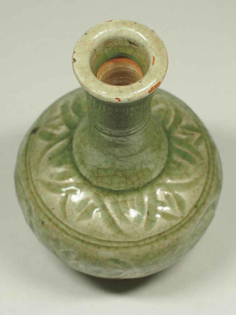 Celadon Bottle Vase with Carved Design, Yuan Dynasty - 5