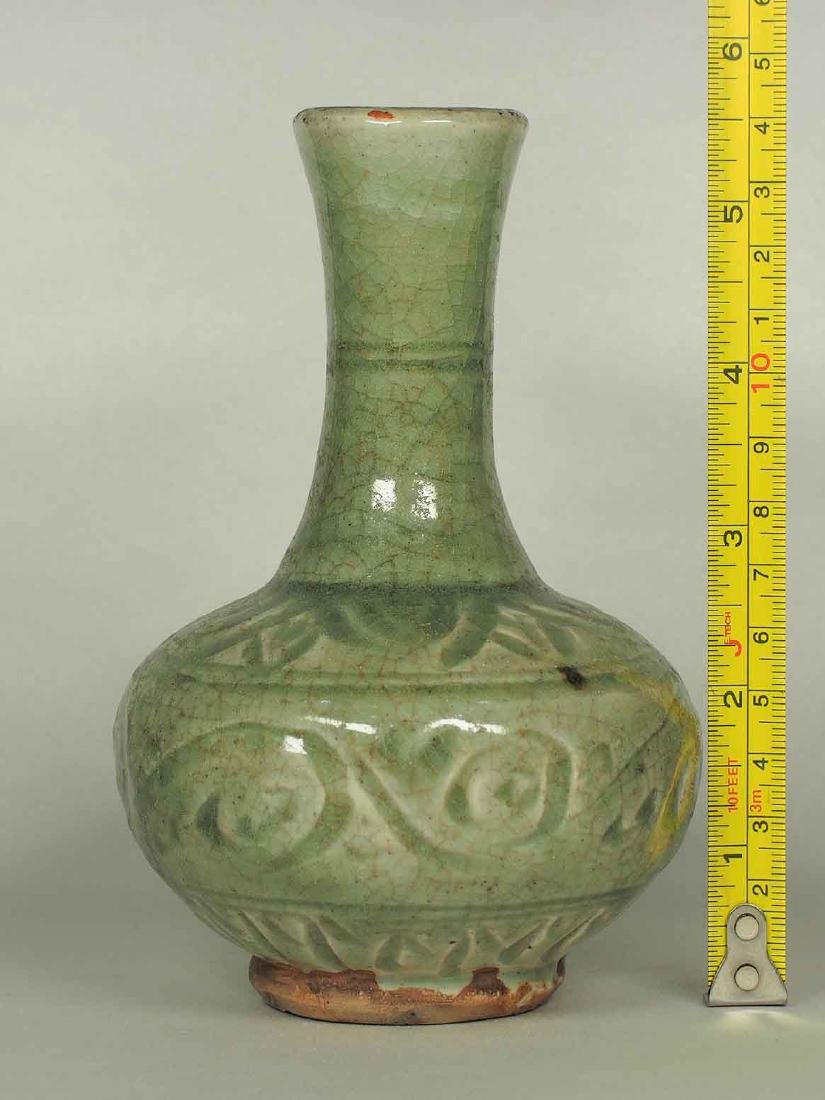 Celadon Bottle Vase with Carved Design, Yuan Dynasty - 8
