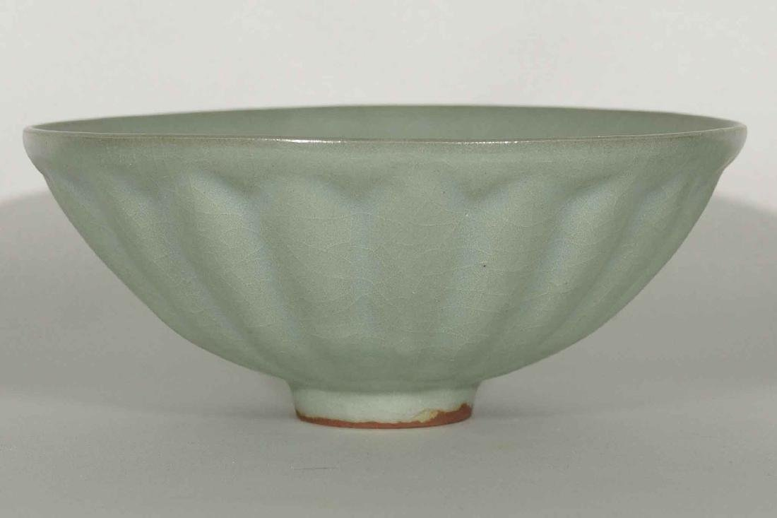 Bluish Longquan large Lotus-lobed Bowl, Song Dynasty