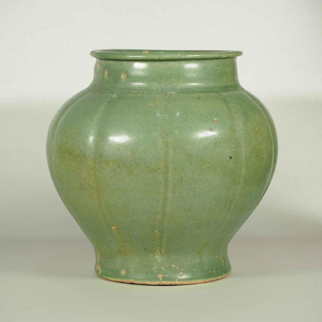 Longquan Celadon Lobed Jar, early Ming Dynasty