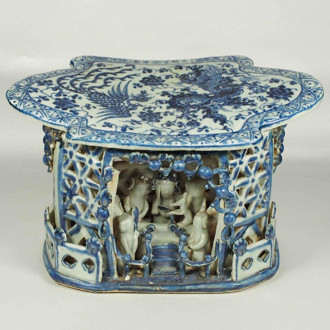 Arm Rest with Dragon and Phoenix, Xuande Mark, mid Ming