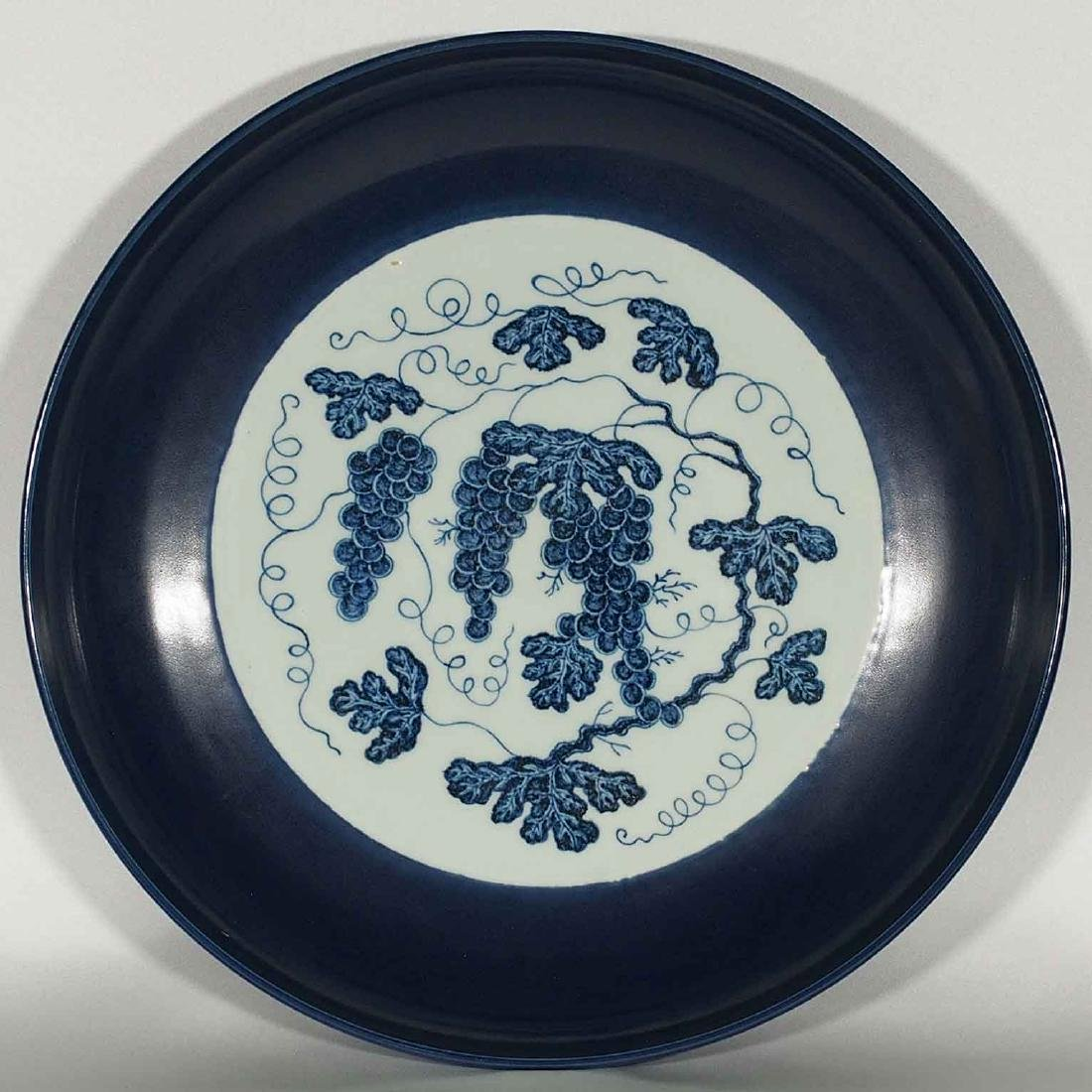 (TL) Blue-rim Charger with Grapes, Yongle Ming Dynasty