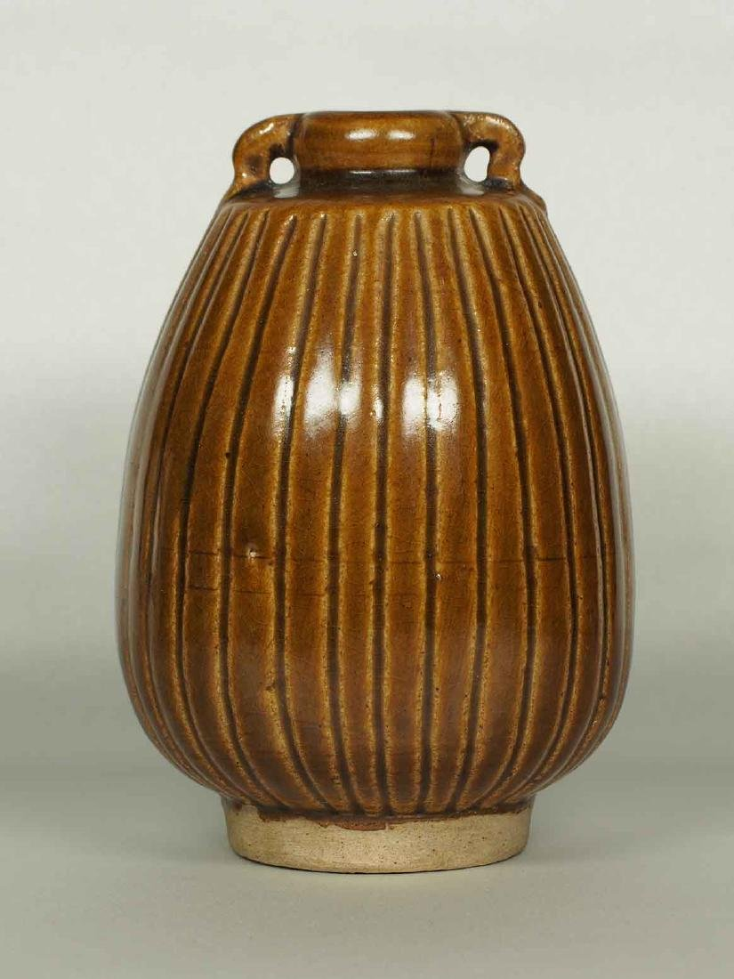 Brown Glaze Jarlet with Two Lugs, Sukhothai
