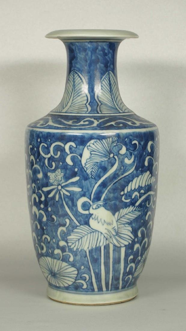 Vase with Reverse White Cranes, Wanli Mark, Ming