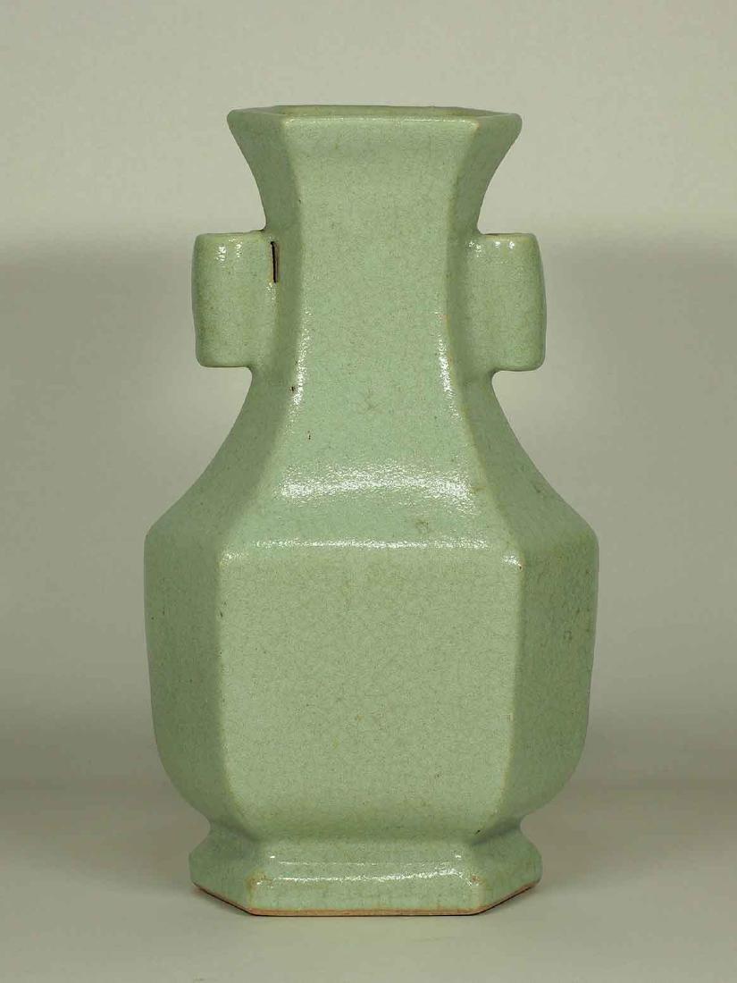 Celadon Crackled Hu-Form Vase, Ming Dynasty