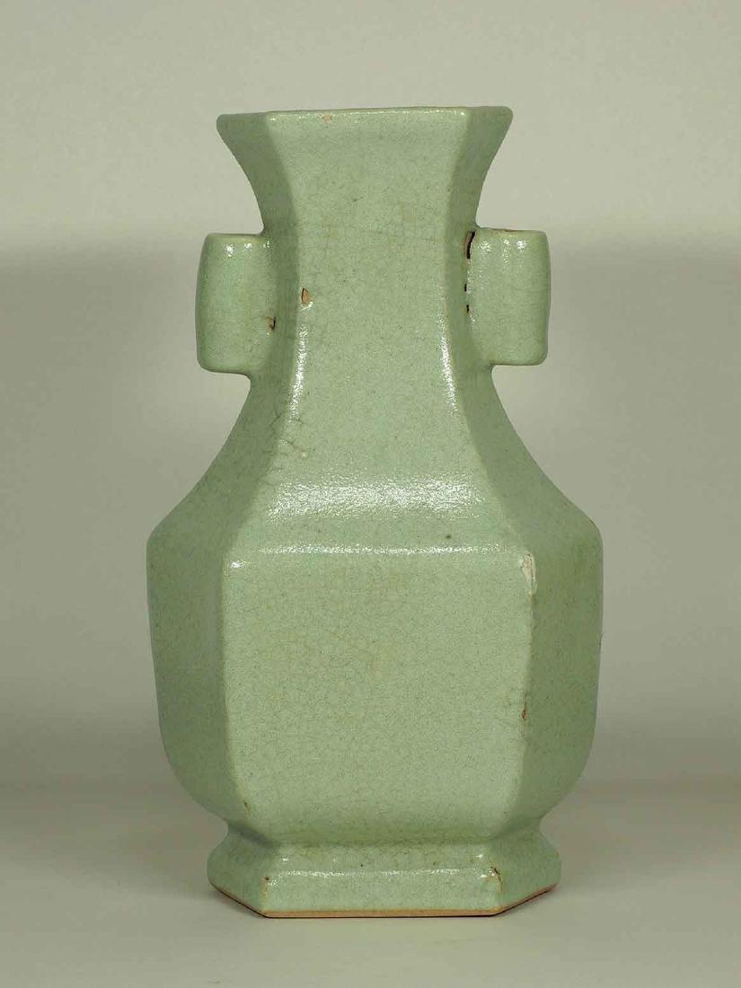 Celadon Crackled Hu-Form Vase, Ming Dynasty - 2