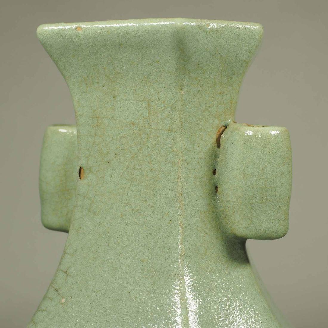 Celadon Crackled Hu-Form Vase, Ming Dynasty - 5